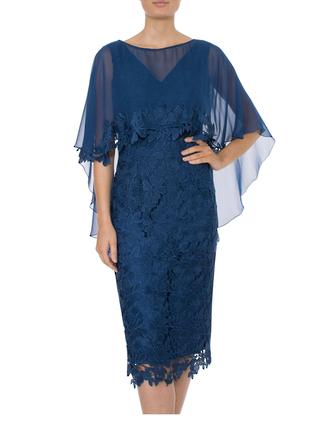 ADRIATIC GUIPURE LACE DRESS WITH SILK SHRUG