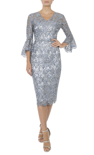 GLAZIER SEQUIN WITH FLUTED SLEEVE DRESS