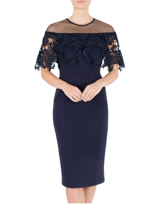 NAVY CREPE WITH LACE SHAWL DRESS