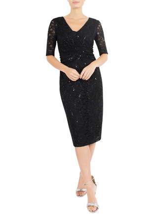 BLACK SEQUIN LACE DRESS