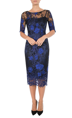 AZURE AND NAVY EMBROIDERED DRESS