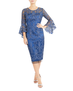 AZURE EMBROIDERED MESH DRESS