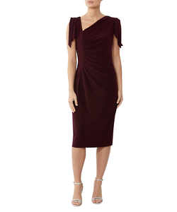 PLUM ASYMMETRICAL JERSEY DRESS