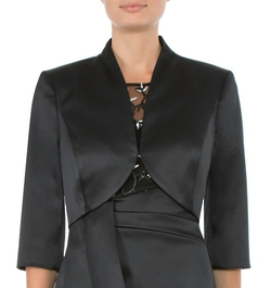 BLACK STRETCH SATIN BOLERO