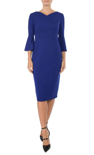 Anthea Crawford royal saphire dress front view