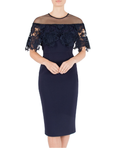 Mother of the Bride or groom wedding navy lace crepe dress
