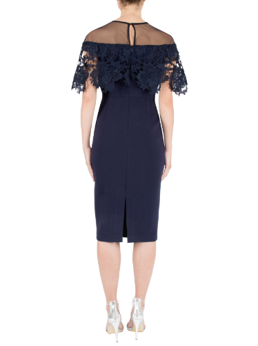 Mother of the bride or groom wedding navy crepe and lace dress