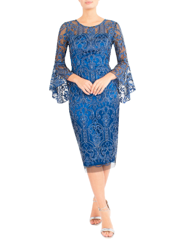mother of the bride or groom azure embroidered dress 6