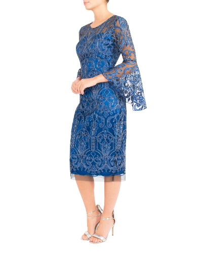 mother of the bride or groom embroidered AZURE DRESS S