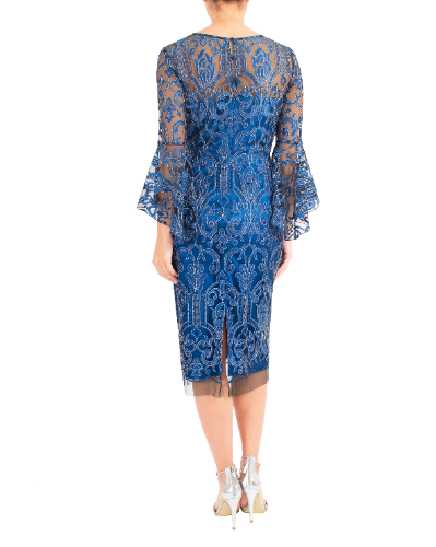 mother of the bride or groom embroidered azure dress