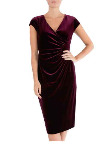 ANTHEA CRAWFORD MOTHER OF THE BRIDE OR GROOM PLUM VELOUR  DRESS