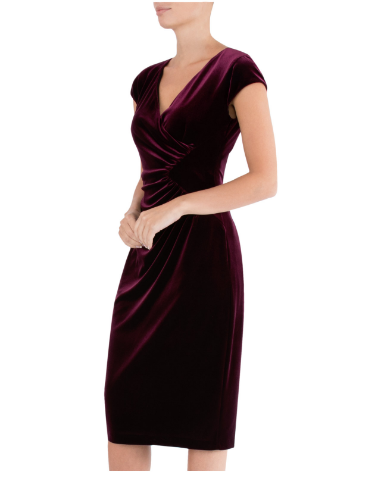 ANTHEA CRAWFORD MOTHER OF THE BRIDE OR GROOM PLUM VELOUR  DRESS 1