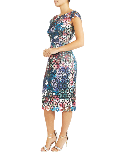 mother of the bride or groom luminous printed guipure lace dress  1