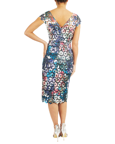 mother of the bride or groom luminous printed guipure lace dress  2