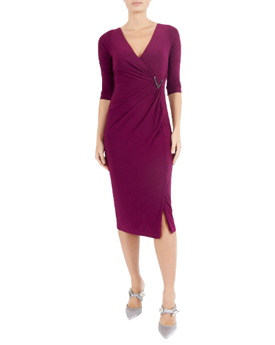 mother of the bride or groom magenta jersey dress