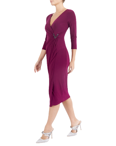mother of the bride or groom magenta jersey dress 1