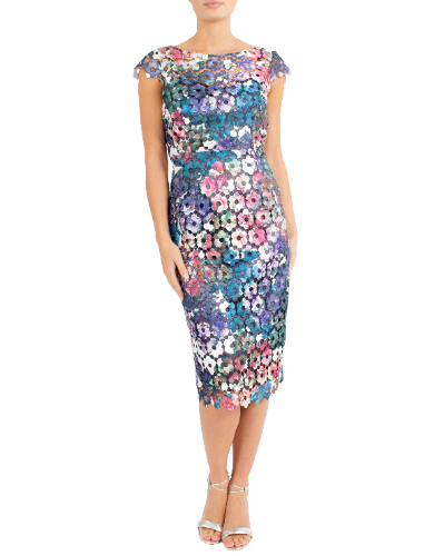 mother of the bride or groom luminous printed guipure lace dress