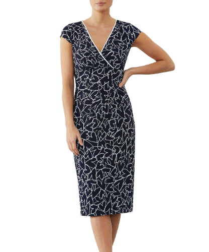mother of the bride or hearts printed jersey dress