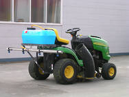 Ride-on mower sprayer