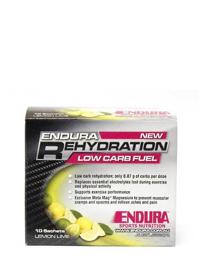 Endura Rehydration Low Carb Fuel, Lemon Lime Sachets 10 x 4g