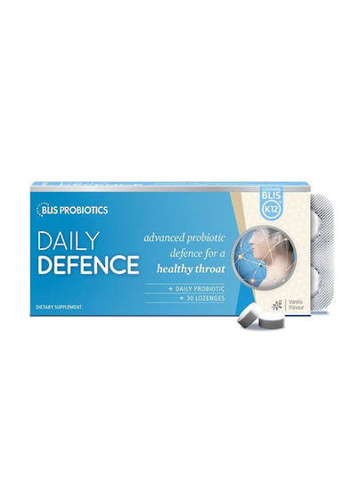 DailyDefence with BLIS K12, 30 Lozenges (Strawberry or Vanilla)