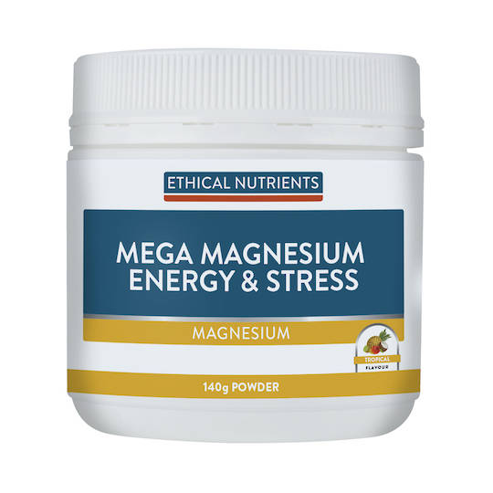 Ethical Nutrients Mega Magnesium Energy and Stress, 140g Powder (Tropical)