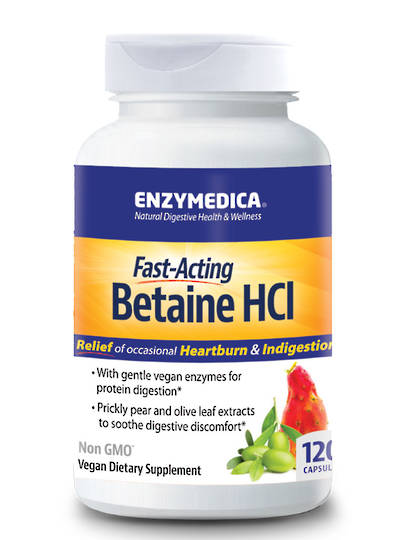 Enzymedica Fast Acting Betaine HCL, 120 capsules