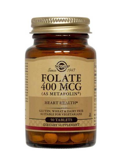 Solgar Folate 400 mcg (as metafolin), 100 Tablets