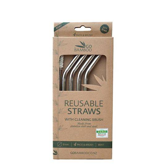 Go Bamboo - Stainless Steel Straws, 4 pack