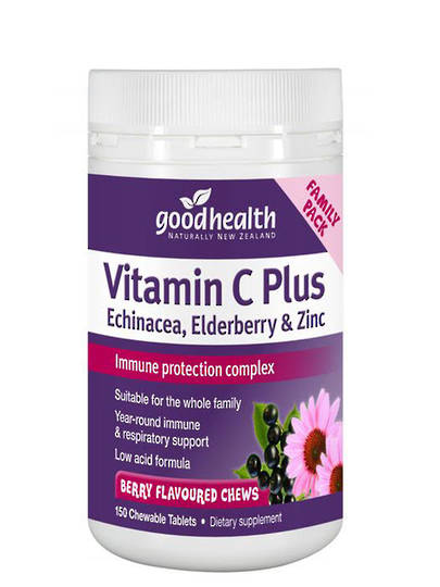 Good Health Vitamin C Plus Echinacea, Elderberry and Zinc, 150 Chewable Tablets (only 2 per customer)