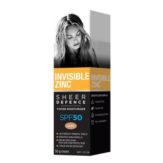 Invisible Zinc Sheer Defence Tinted Moisturiser SPF50, 50g