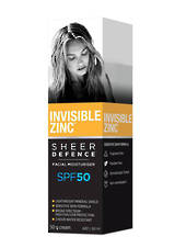 Invisible Zinc Sheer Defence Moisturiser SPF50 50g, Untinted
