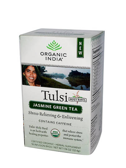 Organic India Tulsi Jasmine Green, 25 tea bags (best before end 9/20)