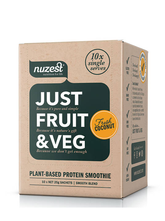 Nuzest Just Fruit & Veg Sachet Box, choice of flavours