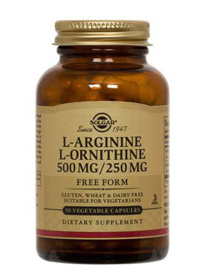 Solgar L-Arginine/L-Ornithine 500 mg/250 mg 50 Vegetable Capsules
