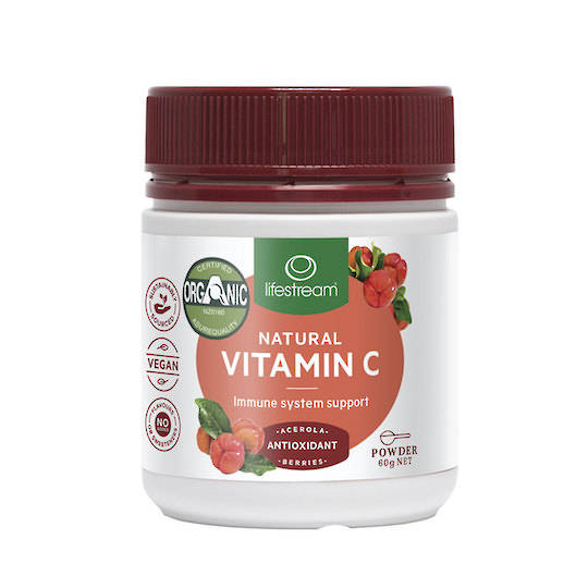 Lifestream Natural Vitamin C, 60g Powder (Certified Organic)