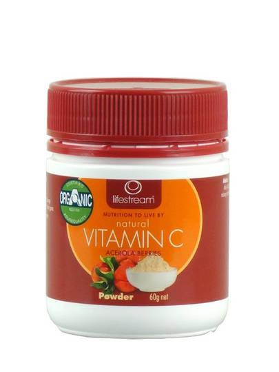 Lifestream Natural Vitamin C Powder - Certified Organic 60g