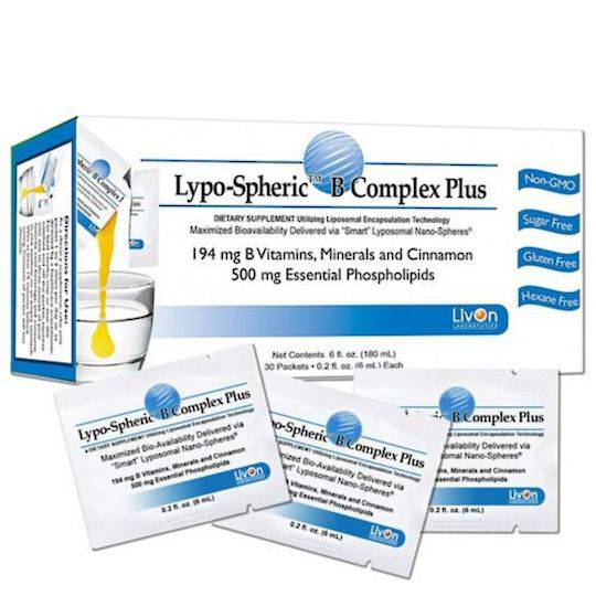 LivOn Lypo-Spheric Vitamin B Complex Plus, 30 sachets (best before Nov 2020)