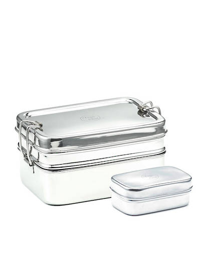 Meals in Steel Twin Layer Rectangular Lunchbox + snack box, medium