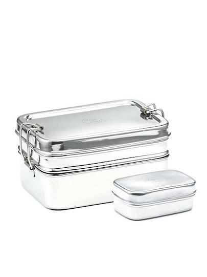 Meals in Steel Twin Layer Medium Rectangular Lunchbox + snack box