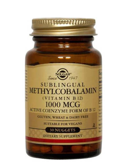 Solgar Methylcobalamin (Vitamin B12) 1000 mcg, 30 Nuggets