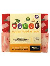 Organic VEGAN Munch Food Wraps - Red Floral (2 Pack), Small or Medium