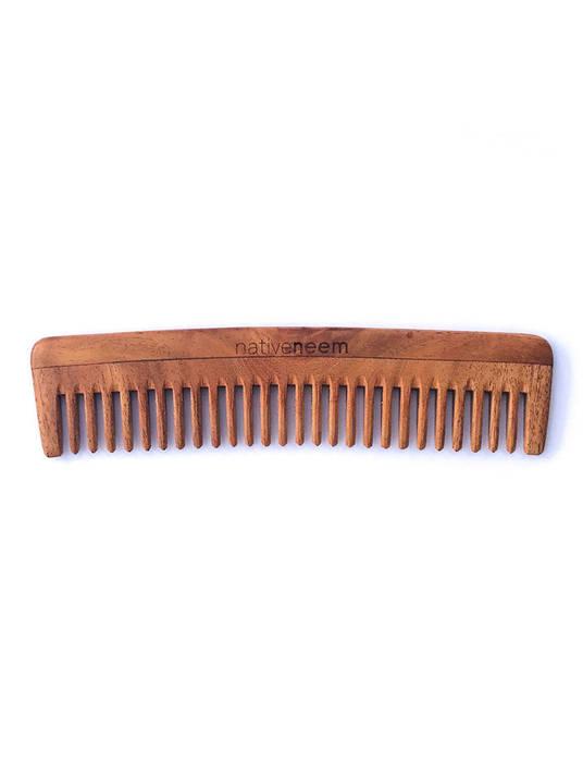 Native Neem Wooden Neem Comb Wide Tooth
