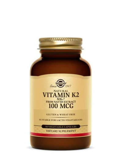 Solgar Natural Vitamin K2 (MK-7) 100 mcg 50 Vegetable Capsules