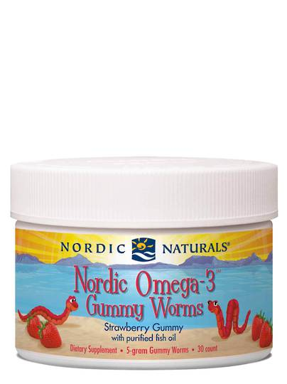 Nordic Naturals Omega-3 Gummy Worms (30 strawberry worms ages 2+) (best before 07/21)