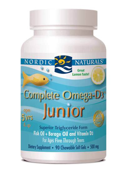 Nordic Naturals Complete Omega D3 Junior (90 soft gels lemon for ages 5+)