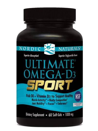 Nordic Naturals Ultimate Omega D3 Sport (60 soft gels) (best before 08/21)