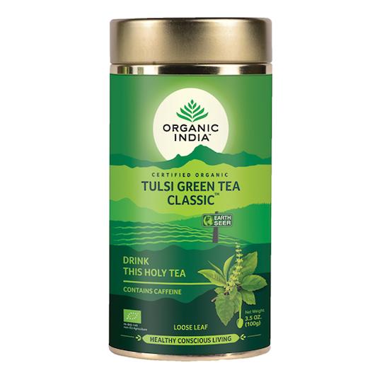 Organic India Tulsi Green, 100g loose leaf tea or 1 carton (6 tins)