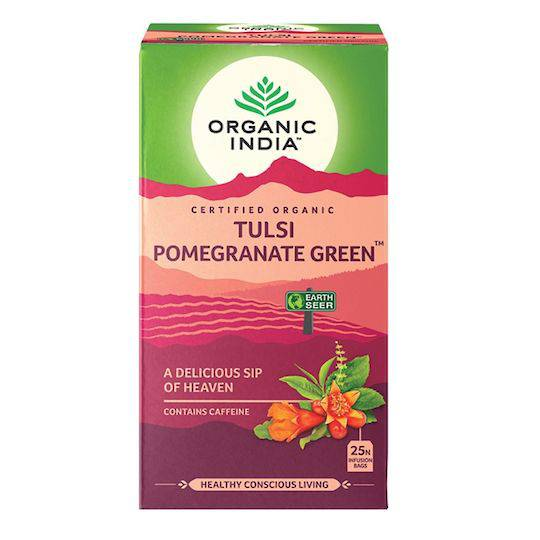 Organic India Tulsi Pomegranate Green, 25 tea bags
