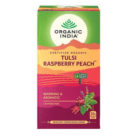 Organic India Tulsi Raspberry Peach, 25 tea bags
